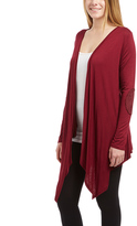 Celeste Wine Elbow Patch Open Cardigan
