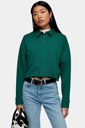 Topshop Green Long Sleeve Rugby Polo