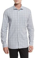 Billy Reid Plaid Woven Oxford Shirt, Blue Pattern