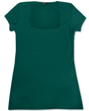 INC International Concepts Inc Ribbed Square-Neck T-Shirt, Created for Macy's