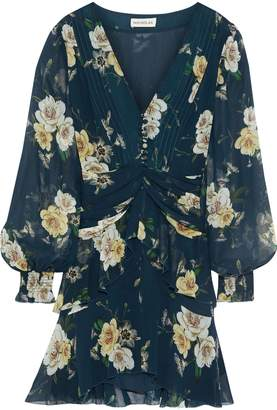 Nicholas Layered Ruched Floral-print Silk-chiffon Mini Dress