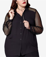 mblm by Tess Holliday Trendy Plus Size Fishnet-Sleeve Shirt