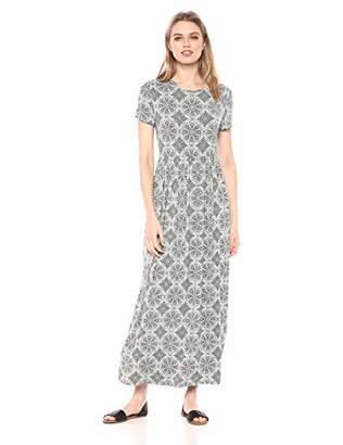 Amazon Essentials Women's Patterned Short-Sleeve Waisted Maxi Dress
