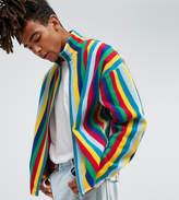 Reclaimed Vintage Inspired Zip Thru Jacket In Stripe Fleece