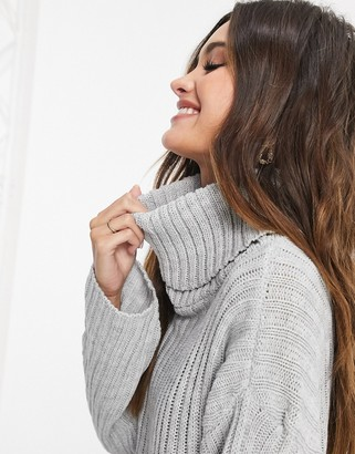 Femme Luxe knitted roll neck sweater dress in gray