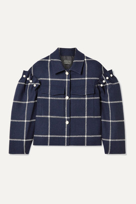 Mother of Pearl Net Sustain Bennett Oversized Cropped Embellished Checked Wool-twill Jacket - Midnight blue