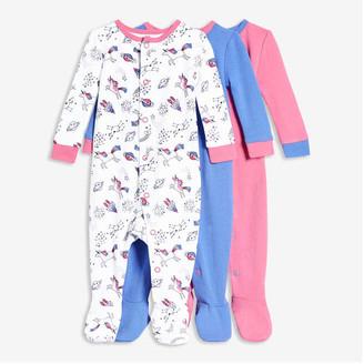 Joe Fresh Baby Girls' 3 Pack Footed Sleepers, White (Size 6-9)