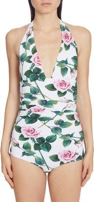 Dolce & Gabbana Ruched Rose Print Halter One-Piece Swimsuit