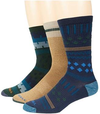 Merrell Cushioned Hiker Crew Socks 3-Pair (Navy Assorted) Crew Cut Socks Shoes