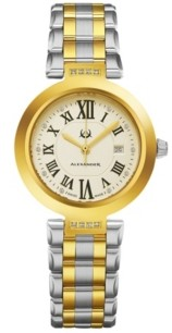 Stuhrling Original Alexander Watch AD203B-02, Ladies Quartz Date Watch with Yellow Gold Tone Stainless Steel Case on Yellow Gold Tone Stainless Steel Bracelet