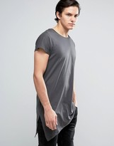 Jack and Jones Core Longline T-Shirt With Asymmetric Hem
