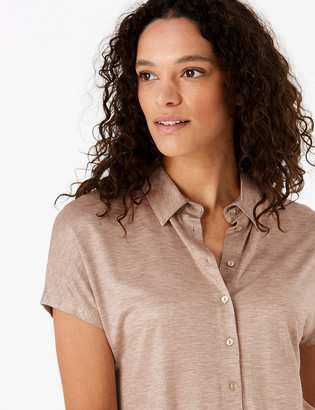 Marks and Spencer Straight Fit Jersey Short Sleeve Shirt