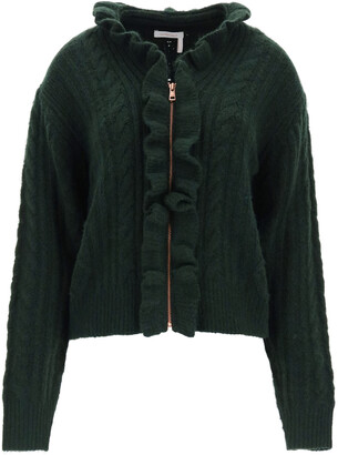 See by Chloe CARDIGAN WITH ZIP AND RUFFLES L Green