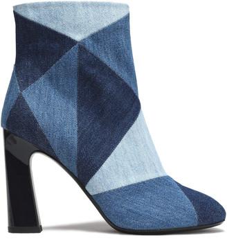 Roger Vivier + Camille Seydoux Trompette Patchwork Denim Ankle Boots