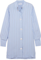J.W.Anderson Oversized Pinstriped Silk-twill Dress - Blue