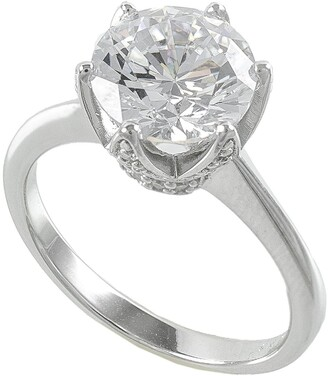 Cz By Kenneth Jay Lane Pave Crown CZ Solitaire Ring