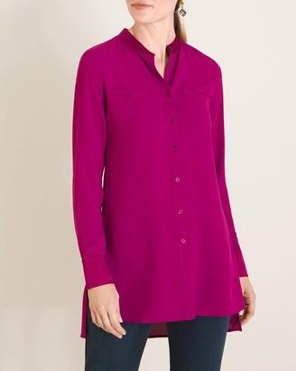 Chico's Satin-Trim Button-Front Tunic Shirt
