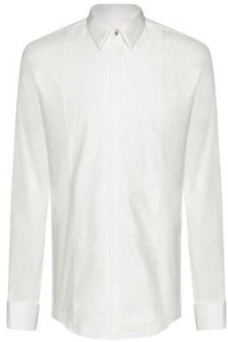 HUGO BOSS Slim Fit Dress Shirt With Tonal Checked Bib - White
