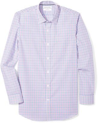 "Amazon Essentials Slim-fit Wrinkle-resistant Long-sleeve Dress Shirt Blue Gingham Plaid 17.5"" Neck 36""-37"""