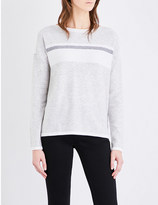 The White Company Colour block wool and cashmere-blend jumper