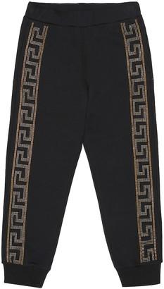 Versace Kids Embellished cotton trackpants