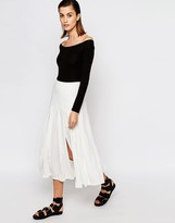 Warehouse Box Pleat Midi Skirt