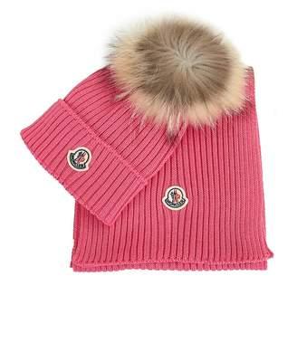 Moncler Enfant Cashwool Pom Pom Hat And Scarf Set Colour: BRIGHT PINK,