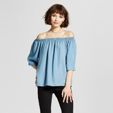 Mossimo Women's Chambray Off The Shoulder Top Blue