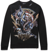 Balmain Printed Embroidered Fleece-Back Cotton-Jersey Sweatshirt