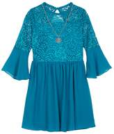IZ Amy Byer Girls 7-16 IZ Amy Byer Lace Bodice Bell Sleeve Dress with Necklace