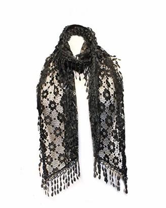 Bsb AN Lace Scarf Womens Vintage Flower Dressy Shawl Lightweight Stole Tassel Fringe - Black - Medium