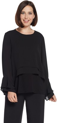 Lisa Rinna Collection Flounce Long Sleeve Blouse