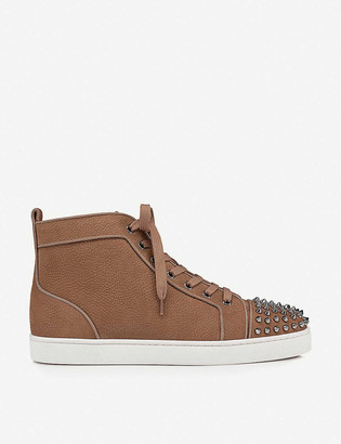 Christian Louboutin Lou Spikes Orlato suede and textile trainers