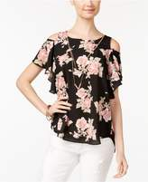 BCX Juniors' Printed Cold-Shoulder Top With Necklace