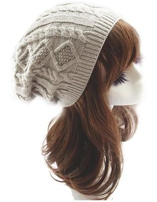 Koly Women's Winter Warm Hat Crochet Knitted Baggy Beanie Oversized Ski Cap (Beige)
