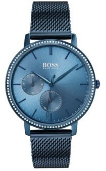 HUGO BOSS Blue-plated watch with Swarovski crystals and mesh bracelet