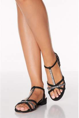 Quiz Black Diamante T Bar Block Heel