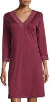 Hanro Moments Lace-Trim Sleepshirt, Red Plum