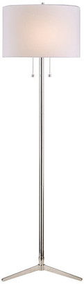 Design Living White Drum Shade Floor Lamp, Polished Nickel