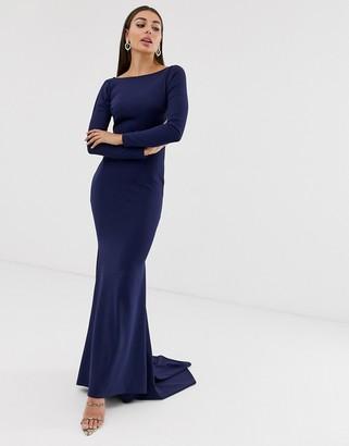 Club L London open back fishtail maxi dress