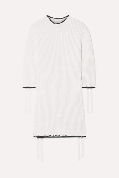 By Malene Birger Lace-up Ribbed Cotton Tunic - White