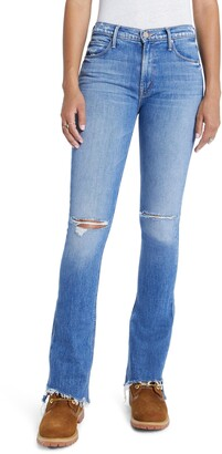Mother The Runaway Step Fray Hem Bootcut Jeans