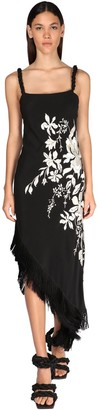 Johanna Ortiz Floral Embroidery Silk Crepe Dress