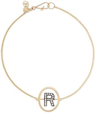 Annoushka 18kt yellow gold diamond initial R bracelet