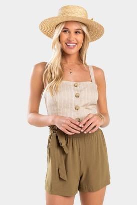 francesca's Ingrid Paperbag Waist Shorts - Olive