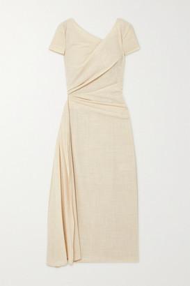 Talbot Runhof Roya Draped Wool-blend Voile Midi Dress - Cream