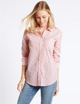 Marks and Spencer Pure Cotton Embroidered Spot Striped Shirt