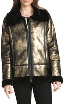 AVEC LES FILLES Metallic Foil Faux Shearling Biker Jacket