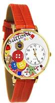 Whimsical Watches Unisex G0410011 I Love Buttons Red Leather Watch