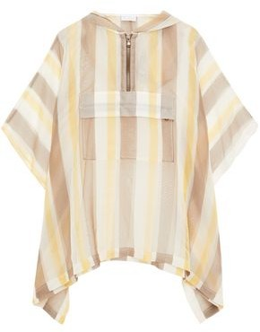 Brunello Cucinelli Bead-embellished Striped Silk-voile Hooded Blouse